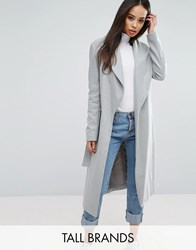 New Look Tall Belted Wrap Coat Grey