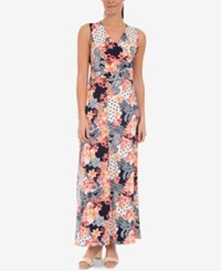 Ny Collection Printed Maxi Dress Navy Aripatch
