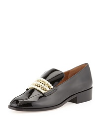 Bettye Muller Pearl Patent Leather Loafer Black