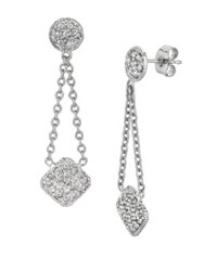 Morris And David 14K White Gold Diamond Pave Drop Earrings 0.75 Tcw