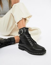 Asos Design Algebra Leather Lace Up Boots Black Leather