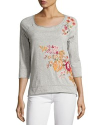 Johnny Was Floral Embroidered Sweatshirt Gray