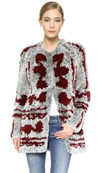 Thakoon Fur Cardigan Coat Grey Bordeaux