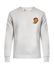 Ami Alexandre Mattiussi Embroidered Cotton Jersey Sweatshirt Grey