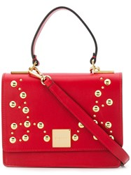 Casadei Studded Foldover Top Tote Red