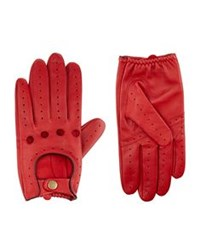 Harrods Of London Leather Driving Gloves Red