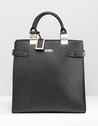 Faith Metal Hinge Structured Tote Bag Black