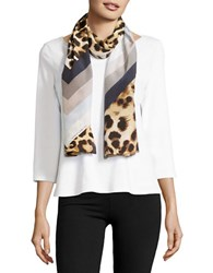 Vince Camuto Animal Print Silk Scarf Tan