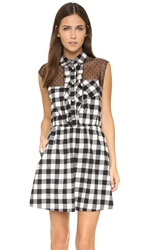 Red Valentino Gingham Ruffle Dress Ivory Black