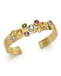 Marco Bicego 18K Yellow Gold Jaipur Five Band Mixed Semi Precious Gemstone Cuff Bracelet Multi Gold