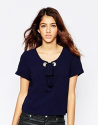 Tfnc Lyn Top With Rope Lace Up Detail Navy