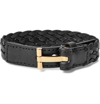 Tom Ford Woven Leather And Gold Tone Bracelet Black