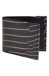 Men's Torino Belts 'Nile' Genuine Crocodile Leather Billfold Wallet Black Black White