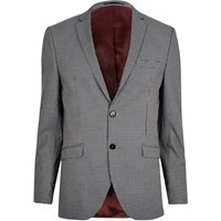 River Island Selected Homme Grey Fitted Suit Blazer