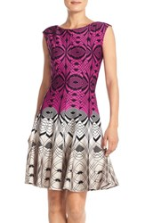 Women's Gabby Skye Colorblock Print Scuba Fit And Flare Dress
