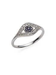 Kc Designs Diamond Sapphire And 14K White Gold Evil Eye Ring