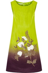 Oscar De La Renta Ombre Effect Embroidered Silk Twill Dress Yellow
