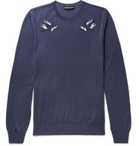 Alexander Mcqueen Embroidered Wool Sweater Navy