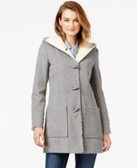 Jessica Simpson Faux Shearling Lined Wool Toggle Coat Grey