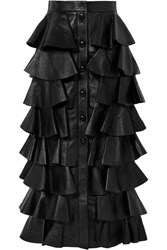 Saint Laurent Tiered Ruffled Leather Maxi Skirt Black