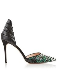 Lucy Choi London Elphaba Snake Print Stiletto Heels Green