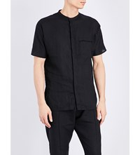 Isabel Benenato Loose Fit Linen Shirt Black