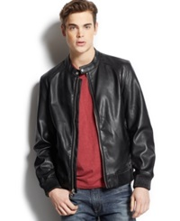 Guess Ribbed Trim Faux Leather Moto Jacket Black