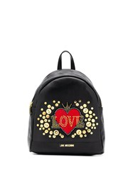 Love Moschino Embellished Heart Backpack Black