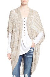 Junior Women's Sun And Shadow Long Cocoon Cardigan Tan Greige Canyon Marl