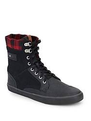 Ben Sherman Carter Plaid Trim Leather And Suede High Top Sneakers Black