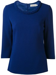 Goat Cropped Sleeve Sweater Women Polyester Acetate Wool 12 Blue