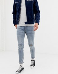 D Struct Skinny Fit Ripped Knee Denim Jeans In Light Blue Stone
