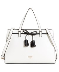 Guess Leila Girlfriend Medium Satchel White Multi