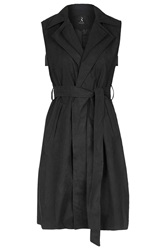 Sleeveless Suede Trench Coat By Rare Black