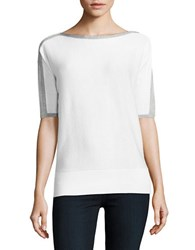 Michael Michael Kors Metallic Trimmed Dolman Sleeve Knit Top White Silver