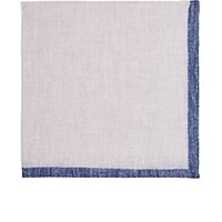 Fairfax Men's Bordered Slub Weave Linen Pocket Square Light Grey Blue Light Grey Blue
