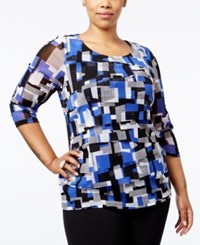 Alfani Plus Size Printed Tiered Top Only At Macy's Patchwork Modern Blue