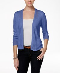 Charter Club Crochet Trim Open Cardigan Only At Macy's Worldly Blue