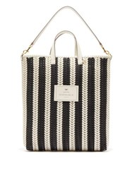 Anya Hindmarch The Neeson Striped Woven Leather Tote Bag Black White
