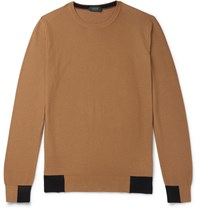 Incotex Contrast Tipped Cotton Sweater Neutrals