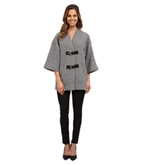 Michael Michael Kors Buckle Sweater Coat Pearl Heather Women's Coat Gray
