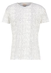 Selected Homme Shnwater Print Tshirt Egret Stripes Moonless Night Off White