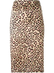 Givenchy Leopard Print A Line Skirt Nude And Neutrals
