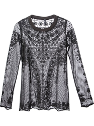High Embroidered Sheer Blouse Black