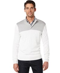 Perry Ellis Colorblocked Quarter Zip Sweater Cannon Heather