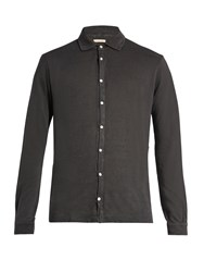 Massimo Alba Crocket Point Collar Linen Shirt Grey