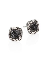 John Hardy Classic Chain Sterling Silver And Black Sapphire Lava Stud Earrings