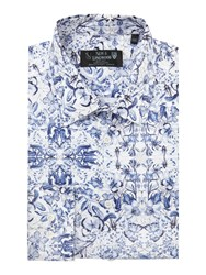 New And Lingwood Allington Butterfly Print Shirt Blue