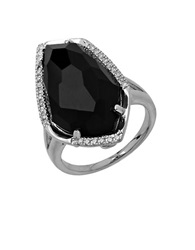 Lord And Taylor Sterling Silver Black Onyx Ring With Diamond Accents