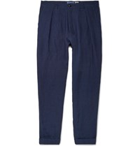 Blue Blue Japan Tapered Linen Trousers Indigo